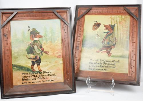 Pair of Hunting Dogs Novelty Oil Paintings (1 of 9)