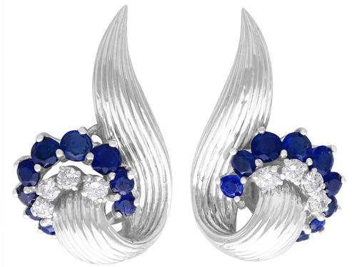 2.05ct Sapphire & 0.65ct Diamond, 18ct White Gold Stud Earrings - Vintage 1958 (1 of 9)
