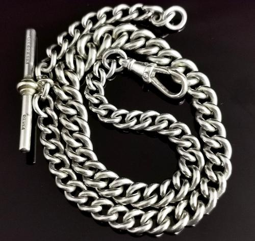 Vintage Art Deco Sterling Silver Albert Chain, Watch Chain (1 of 10)