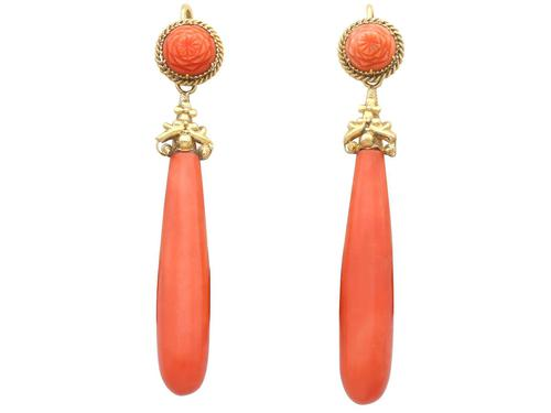 Coral & 20ct Yellow Gold Drop Earrings - Antique c.1830 (1 of 9)