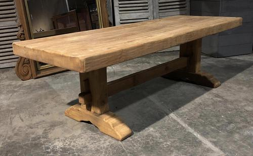 Large French Bleached Oak Trestle Farmhouse Dining Table (1 of 16)