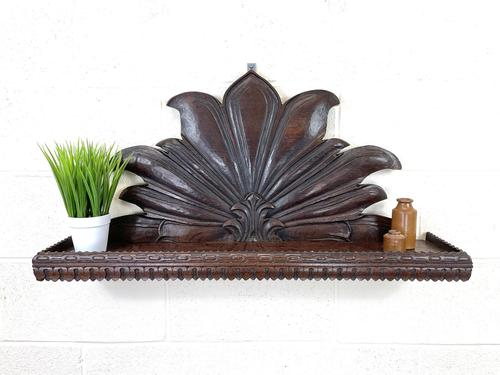 Victorian Carved Oak Wall Hanging Shelf (1 of 7)