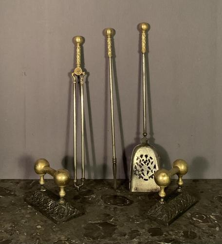 Fine looking early nineteenth century brass and steel fire tools (1 of 7)