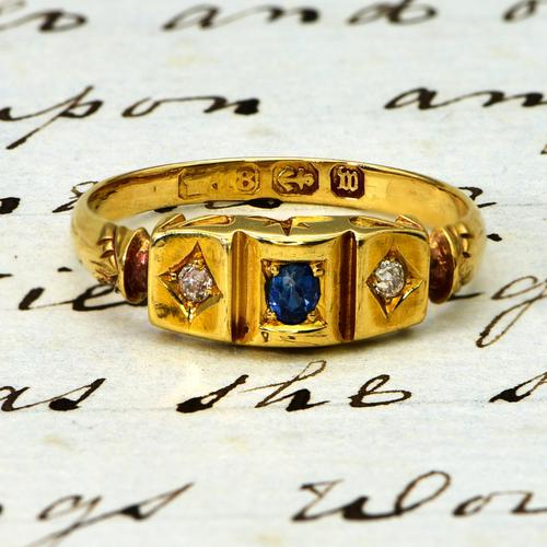 The Antique Victorian 1896 Sapphire & Diamond Ring (1 of 4)
