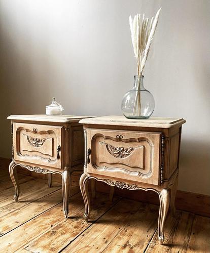 French Limed Oak Bedside Tables / Bedside Cabinets / Nightstands (1 of 4)