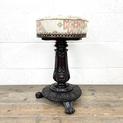 Victorian Carved Mahogany Piano Stool (1 of 9)