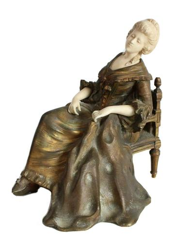 Important Art Nouveau Bronze Marble Seated Lady Sculpture By Xavier Raphanel (1 of 39)