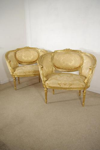 Pair of 19th Century French Gilt Louis XVI Style Armchairs (1 of 19)