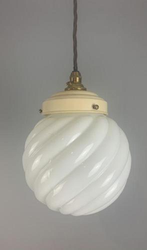 Art Deco Original Shade Pendant Ceiling Light; Original Gallery; Rewired (1 of 6)