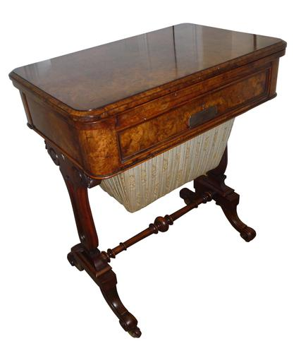 Fine 19th Century Burr Walnut Games / Work Table 1870 (1 of 5)