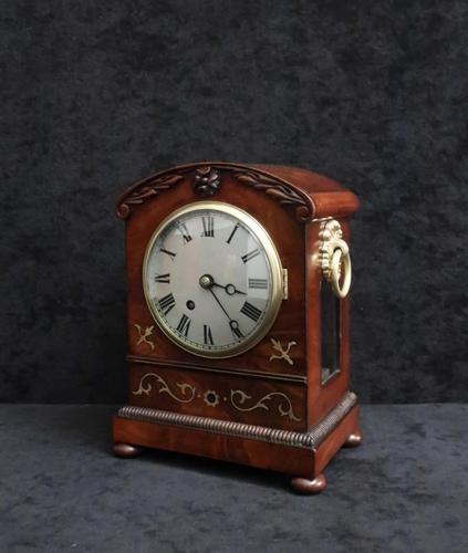 English Late Regency Mahogany Timepiece Mantel Clock (1 of 9)