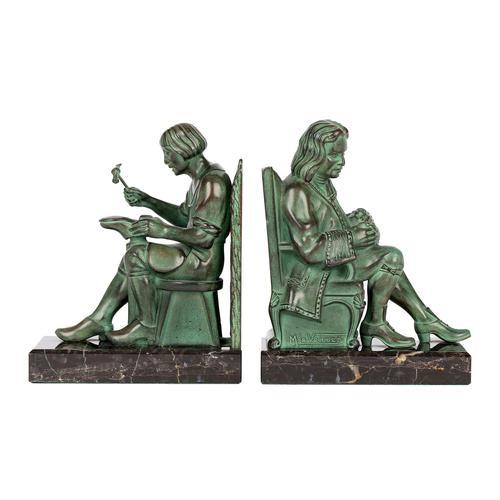 Max Le Verrier Pair Art Deco Patinated Bronze The Cobbler & The Financier Bookends (1 of 18)