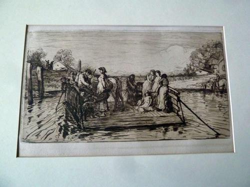 "Robert Walker Macbeth Scottish Etching ""The Ferry"" 1880 (1 of 4)"