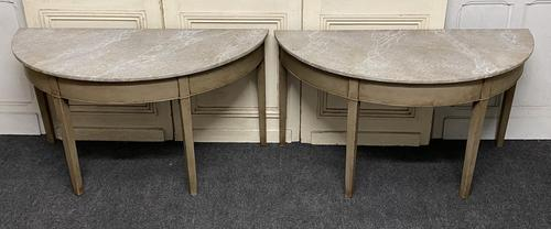 Pair of Georgian Painted Demi Lune Console Tables (1 of 22)