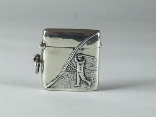 Solid Sterling Silver Small Golfing Vesta Case (1 of 5)