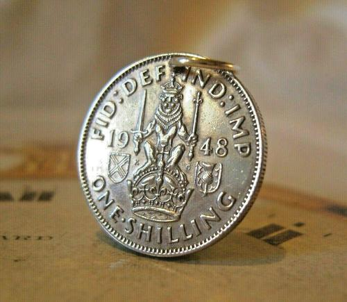 Vintage Pocket Watch Chain Fob 1948 Lucky Silver One Shilling Old 5d Coin Fob (1 of 7)