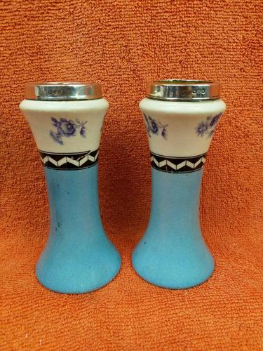 Antique Sterling Silver Hallmarked Topped 1923 Art Deco Ceramic Vases, Chester (1 of 9)