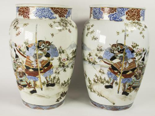 Large Mirror Pair of Japanese Samurai Kutani Vases (1 of 7)