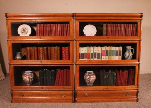 Pair Of Low Stacking Bookcases In Light Oak Globe Werknicke Late 19th Century (1 of 10)