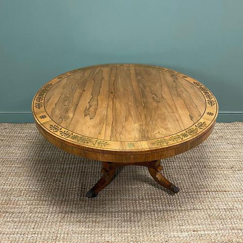 Spectacular Mellow Rosewood and Brass Inlaid Regency Circular Centre Table (1 of 8)