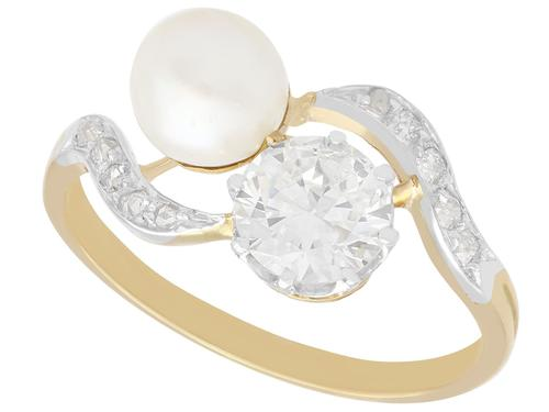 Natural Pearl and 2.60ct Diamond, 18ct Yellow Gold Twist Ring - Antique French Circa 1910 (1 of 9)