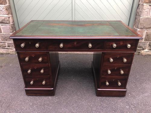 Antique Mahogany Pedestal Writing Desk (1 of 11)