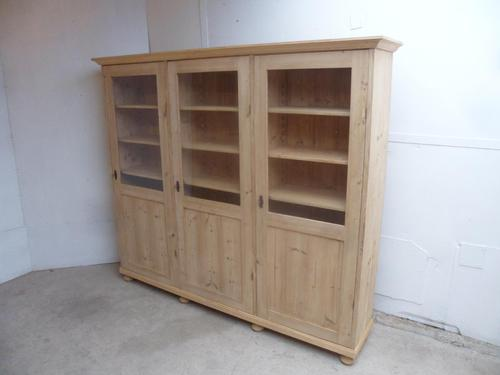Rare Glazed 3 Door Antique Pine Adjustable Bookcase / Cabinet to wax / paint (1 of 9)