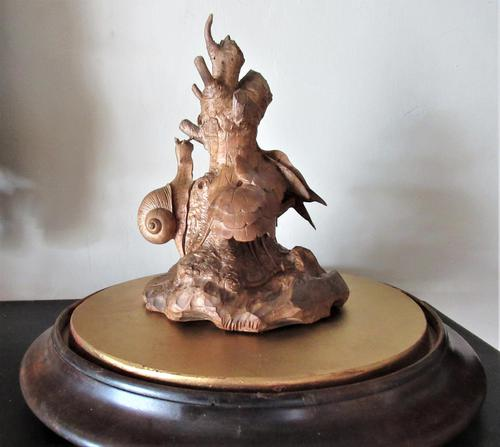 Thomas Wilkinson Wallis of Louth, Wood Carving with Snail and Ivy, 1867 Original Stand (1 of 11)