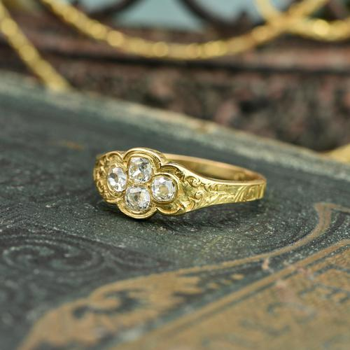 The Late Victorian Spencer of Charlotte 1892 Four Diamond Memory Ring (1 of 10)
