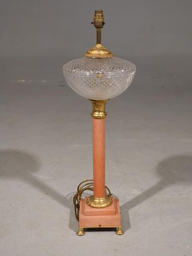 Early 20th Century Pink Marble Column Lamp (1 of 3)