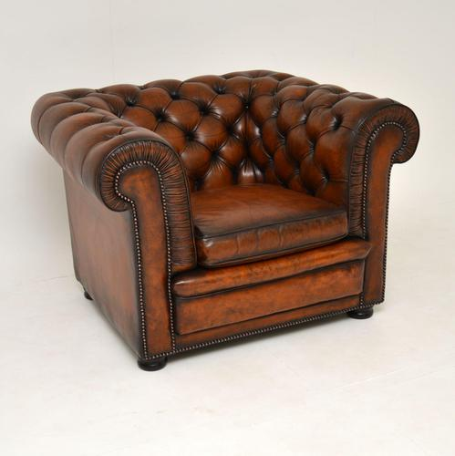 Antique Victorian Style Leather Chesterfield Armchair (1 of 8)