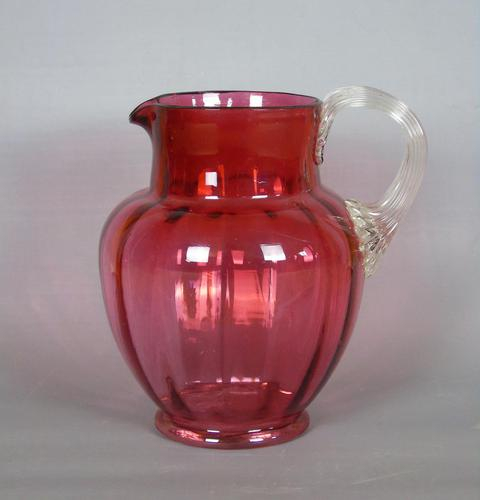 Large Victorian Hand Blown Cranberry Jug (1 of 6)