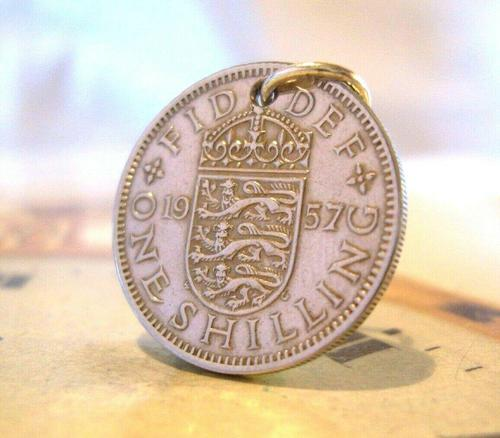 Vintage Pocket Watch Chain Fob 1957 Lucky Silver One Shilling Old 5d Coin Fob (1 of 8)
