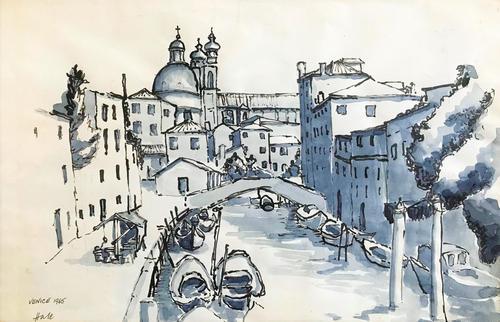 Original watercolour' Venetian canal' 1965. by Helen Hale ROI, NS, SWA. B.1936. (1 of 1)