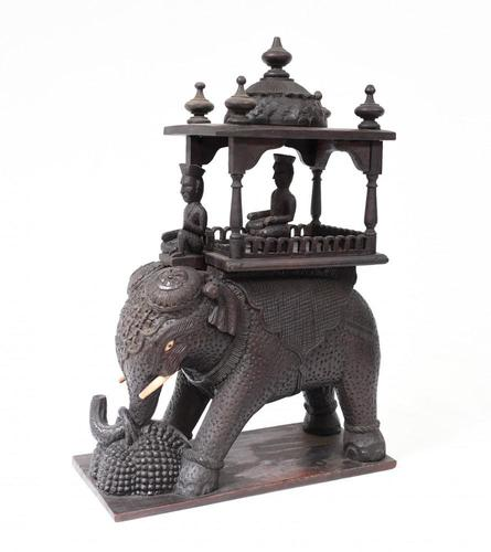 Carved Burmese Elephant Statue Antique Burma c.1890 (1 of 8)