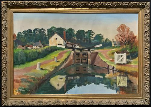 'Lapworth Canal, Warwickshire' Exceptional Vintage Oil on Canvas Painting c1960 (1 of 13)