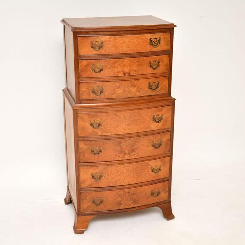 Burr Walnut Chest on Chest of Drawers c.1930 (1 of 9)