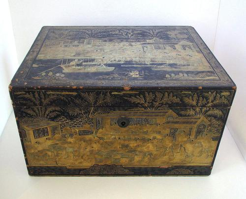 Rare Antique Chinese Lacquered Giltwood Large Tea Caddy Chest / Box / Casket with Pewter Liner c.1800 (1 of 16)