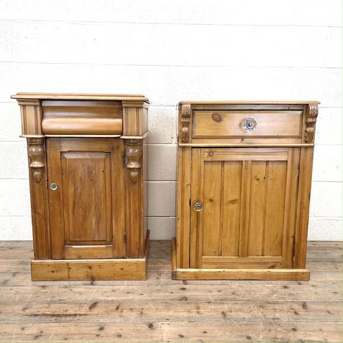 Two Similar Antique Pine Bedside Cupboards (1 of 10)
