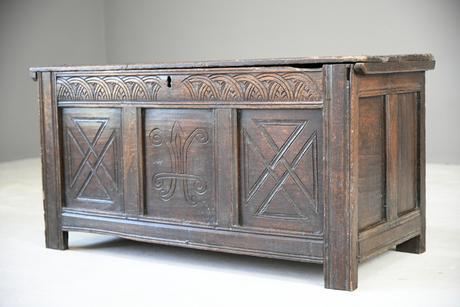 Carved Oak Antique Chest Coffer (1 of 12)