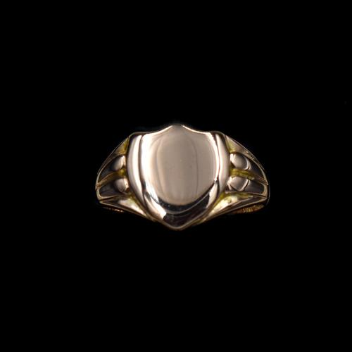 Antique Shield Signet 9ct 9K Yellow Gold Ring (1 of 10)