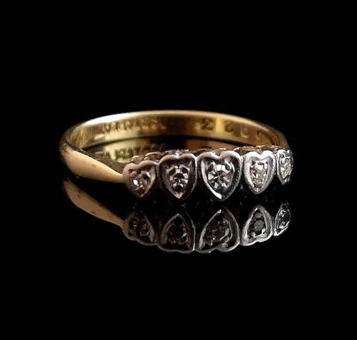Vintage Art Deco Diamond Heart Ring, 18ct Gold & Platinum (1 of 12)