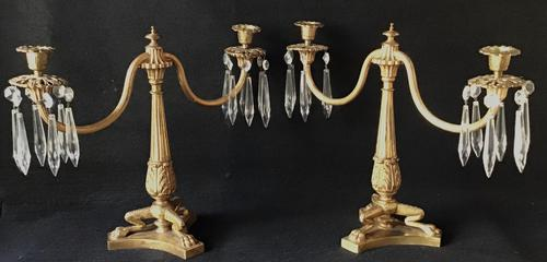 Pair of Good Quality Antique Gilt Brass & Crystal Drop Neo Classical Two Branch Candelabra (1 of 8)