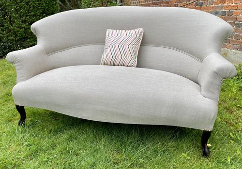 French Two Seater Sofa in Linen (1 of 8)