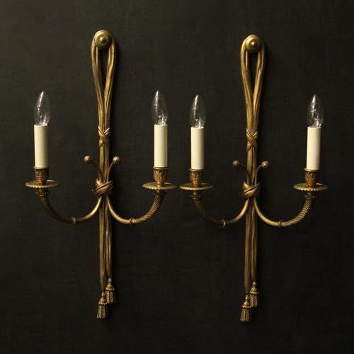 French Pair of Gilded Bronze Rope Wall Lights (1 of 10)