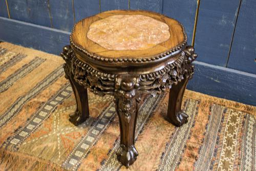 19th Century Chinese Rosewood & Marble Jardinière Stand / Lamp Table (1 of 11)