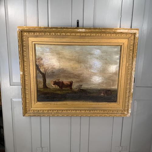 Antique large Georgian landscape oil painting study of cows (1 of 9)