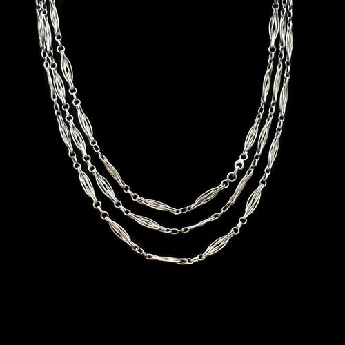 Antique French Sterling Silver Fancy Long Guard Sautoir Chain Necklace (1 of 8)