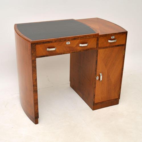 Art Deco Figured Walnut & Leather Desk (1 of 12)