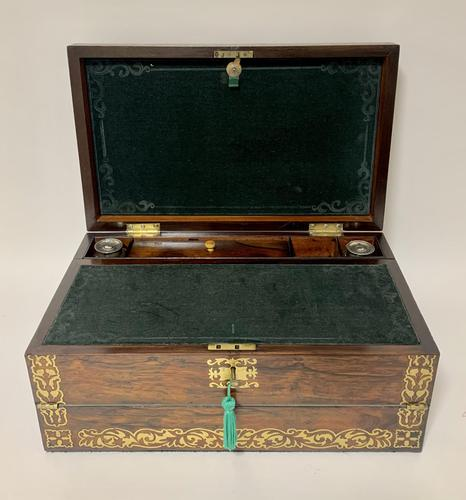 Superb Antique Rosewood Brass Inlaid Writing Slope Box with Double Hinge (1 of 12)